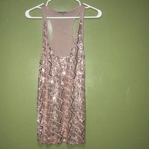 Mauve colored sequined tank top